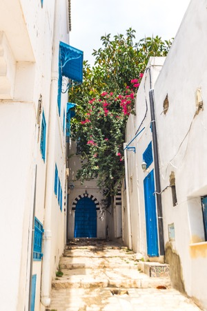 sidi bou said: Sidi Bou Said  typical building with white walls blue doors and windows Tunisia