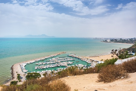 sidi bou said: Sidi Bou Said - yacht harbour. There is breathtaking view from the top on the Gulf of Tunis