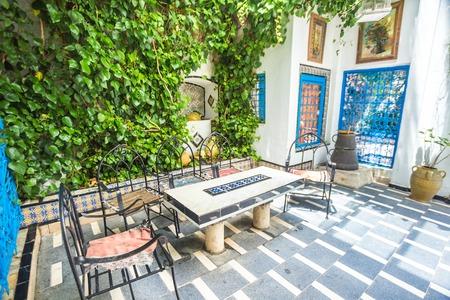 sidi bou said: Sidi Bou Said - traditional courtyard of a typical house, Tunisia