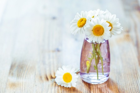 Bouquet of flowers chamomile in a small glass bottles