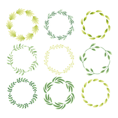 Set of watercolor wreaths. Hand painted branches, leaves, petal decor elements for design template, invitation. Nature, organic, bio items. Watercolor Hand sketched Vector.