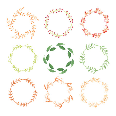 Set of watercolor wreaths.