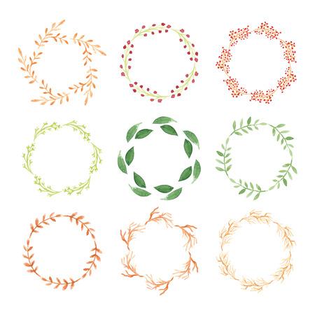 Set of watercolor wreaths.