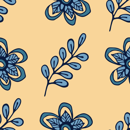 wrappers: Decorative seamless pattern with leaves and flowers. Template for design wrappers, package, textile and backgrounds. Illustration