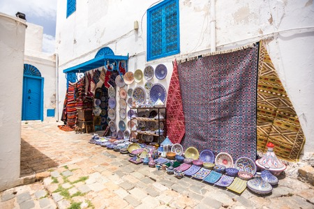 sidi bou said: Sidi Bou Said - multicolor sovenir earthenware in tunisian market, Tunisia Stock Photo