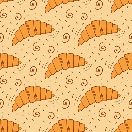 croissants: Seamless pattern with croissants and other pastries