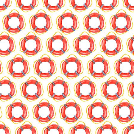 saemless: Nautical vintage saemless pattern with watercolor Lifebuoy Stock Photo