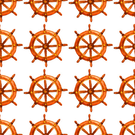 saemless: Nautical vintage saemless pattern with watercolor steering wheel