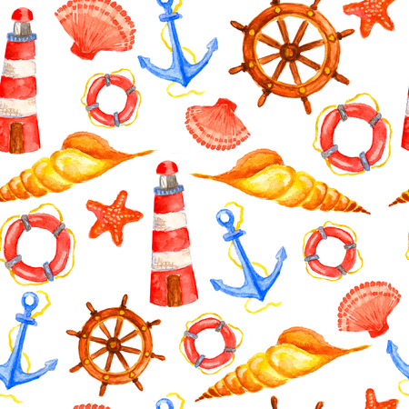 Nautical vintage saemless pattern with watercolor steering wheels, seashells, starfishes, life buoys, lighthouses and anchors