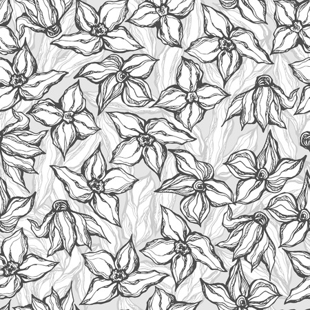 graphically: Black and white graphically seamless pattern of flowers Illustration