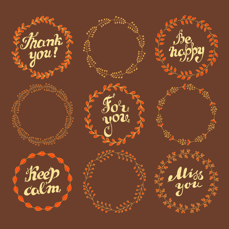autumnn: Hand drawn set of wreaths of branches with leaves end text