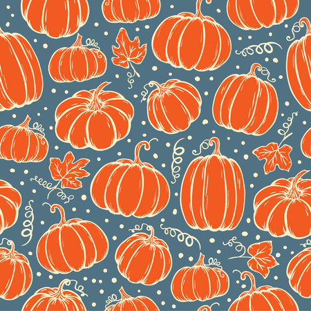 Vector seamless pattern of hand drawn Pumpkins. Background for use in design, cards and wallpapers. Illustration