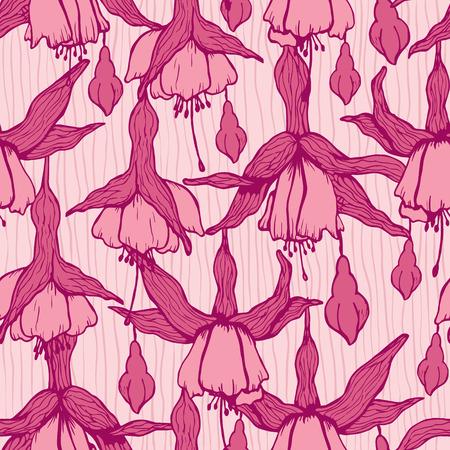 flores fucsia: Modelo con los dibujos de flores de color rosa fucsia. Vectores