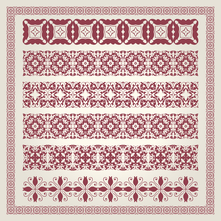 decoration elements: Vintage border decoration elements patterns in retro colors.