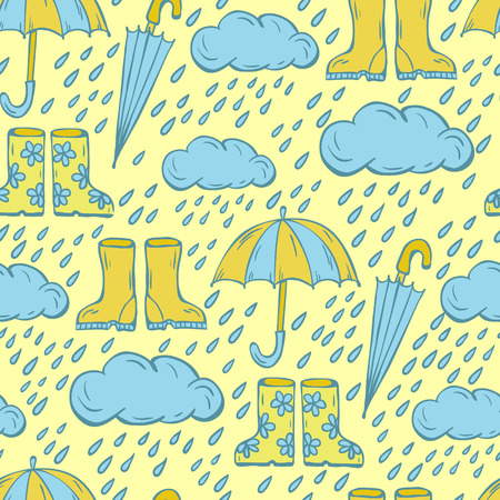 gumboots: Vector seamless pattern, doodling autumn design. Hand draw umbrellas. clouds with raindrops and gumboots