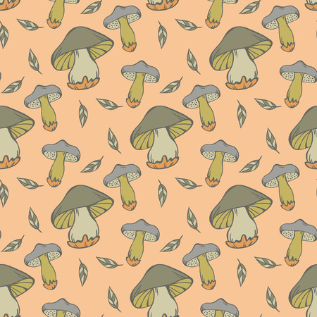 edible: Vector seamless pattern of mushroom in green colors