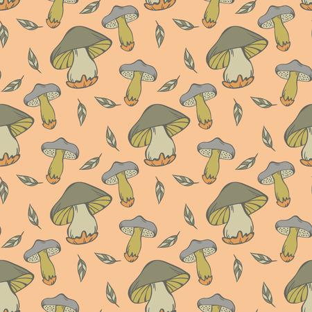 cartoon mushroom: Vector seamless pattern of mushroom in green colors