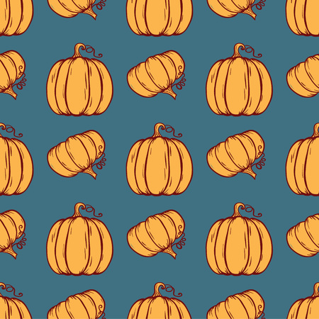 background design: Vector seamless pattern of hand drawn Pumpkins. Background for use in design, cards and wallpapers. Illustration