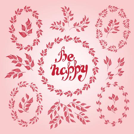 dessin fleur: Ensemble d'�l�ments floraux - feuilles, les branches et les couronnes