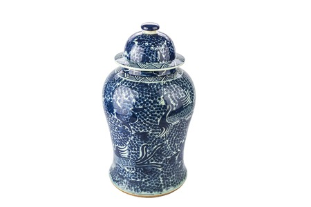 antique vase: Antique traditional Chinese vase on a white background