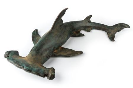 statuette: Decorative statuette hammerhead shark, isolated on white background. Stock Photo