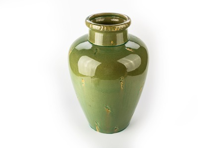 Antique Traditional Green Vase On A White Background Stock Photo