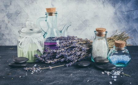 SPA accessories, stones, flowers, essential oils and mineral salt. Healthy and beauty concept Reklamní fotografie