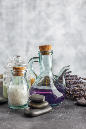 bath essence: SPA accessories, stones, flowers, essential oils and mineral salt. Healthy and beauty concept Stock Photo