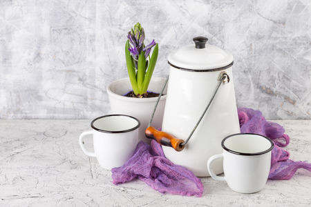 Two white enamel mugs, white can and blossoming flower hyacinth in pot on light background Stock Photo