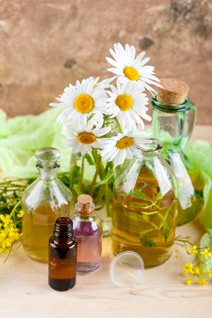 Bottiglie con olio o olio dalle erbe medicinali e fauna selvatica . erboristeria Archivio Fotografico - 81409155