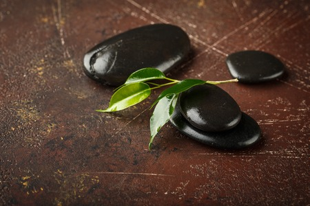 Pile of shiny zen pebble stones with bamboo plant, isolated on white background, copy space