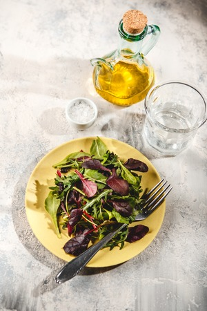 Fresh salad mix of baby spinach, arugula leaves and chard in green plate on light background, healthy food, top view Reklamní fotografie