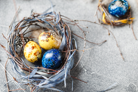 Colored yellow and blue Easter quail eggs in small nests. Quail eggs for catholic and orthodox easter holiday. Shallow depth of field.