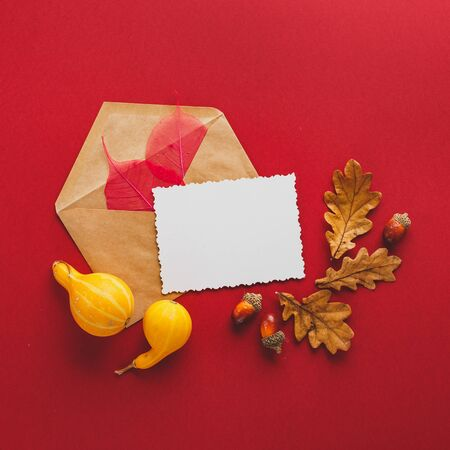 Greeting card and autumn frame of oak leaves, envelop, acorns and two small pumpkins on a red background. Flat lay, copy space. Фото со стока