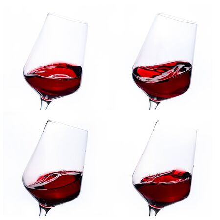 Collage of red wine in the glass isolated on white background