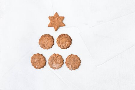 Collection of Christmas gingerbread cookies on white background