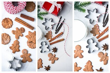 Christmas collage of three images with Christmas cookies, cutters, cinnamon, anise, milk, Christmas tree and red gift box