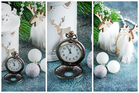 Christmas collage of three images of old pocket watch, decorative figures of deer, balls, Christmas tree with beads and garland and white lantern Imagens