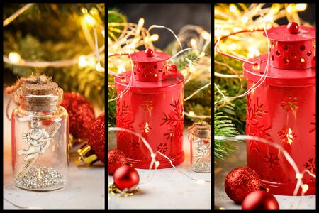 Christmas collage of three images of red lantern with candle, Christmas balls, angel figurine in glass bottle, luminous garland and Christmas tree
