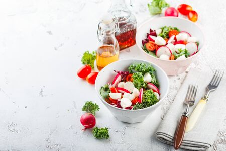 Salad from Iceberg lettuce, Kale and Radiccio, cherry tomatoes, radish, mini mozzarella and pumpkin seeds in bowls on a light background. Space for text.