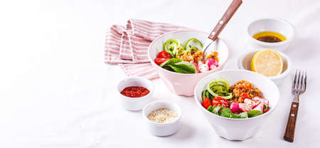 Salad with couscous, chicken, tomatoes, cucumber, roasted radish and chard in bowl on white background. Healthy food. Ketogenic diet. Long wide banner Zdjęcie Seryjne