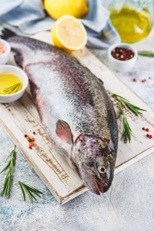 Fresh Rainbow raw trout with herbs rosemary, peppercorns, olive oil, himalayan salt and lemon on light background. Healthy food. Cooking concept.