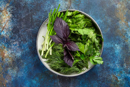 Plate with parsley, dill, cilantro, green onions, red basil on blue background, top view