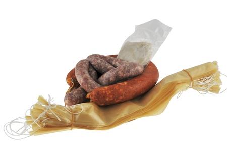 slaughtering: Budella di maiale e artificiali con salsicce Archivio Fotografico