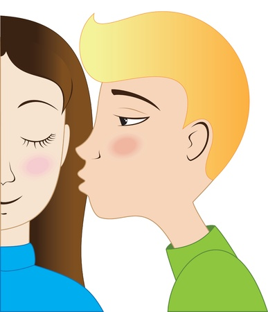 cheeks: Blond boy kisses brunette girl with rosy cheeks