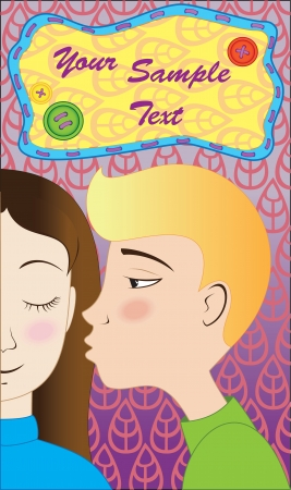 cheeks: Blond boy kisses brunette girl with rosy cheeks on purple background with text cloud Illustration