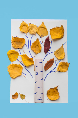 Autumn crafts for kids. Children's fall crafts made from autumn dry yellow leaves. Ideas for children's art and drawing. Sensory games, therapy