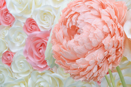 Large Giant Paper Flowers. Big pink, white, beige Rose, peony made from paper. Pastel paper background pattern lovely style. Flower made from corrugated paper and EVA Foam Paper