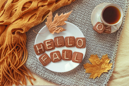Autumn cozy flat lay. Top view. Hot tea cup and round white plate with cookies text HELLO FALL, orange  warm scarf and autumn leaves on knitted gray and fabric background. Autumn relax concept