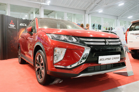 KROPIVNITSKIY, UKRAINE  – 27 September, 2018: New Mitsubishi Eclipse Cross sport compact car shown at the Motor Show. Red Mitsubishi Eclipse, compact crossover produced by Mitsubishi Motors